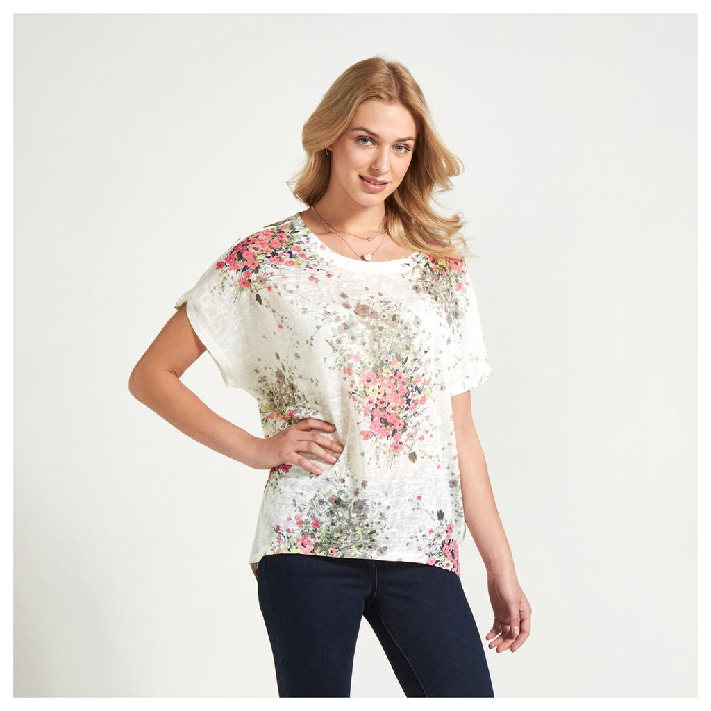 White, Stone & Pink Spring Bouquet Print T-Shirt