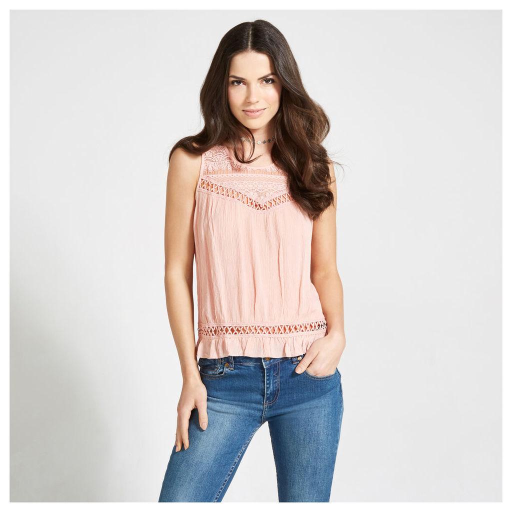 Pink Prairie Lace & Crochet Panels Top