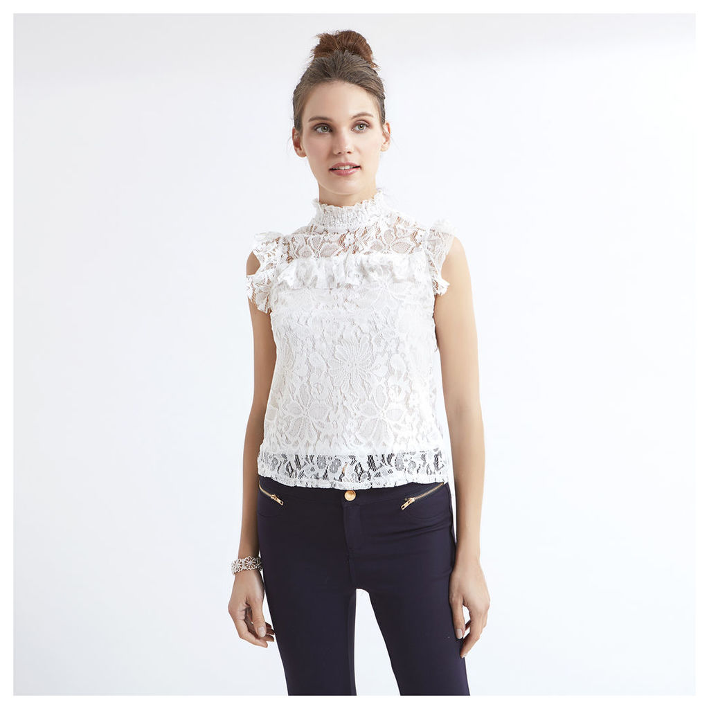 High Neck Ruffle Detail Lace Blouse