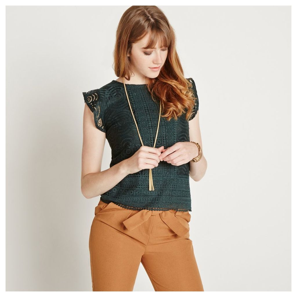 Green Lace Frill Sleeve Top