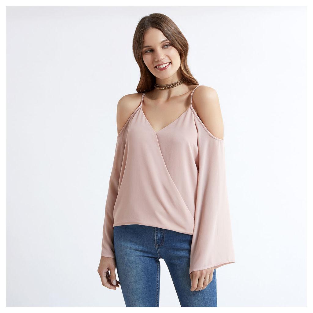 Pink Cold Shoulder Wrap Front Blouse