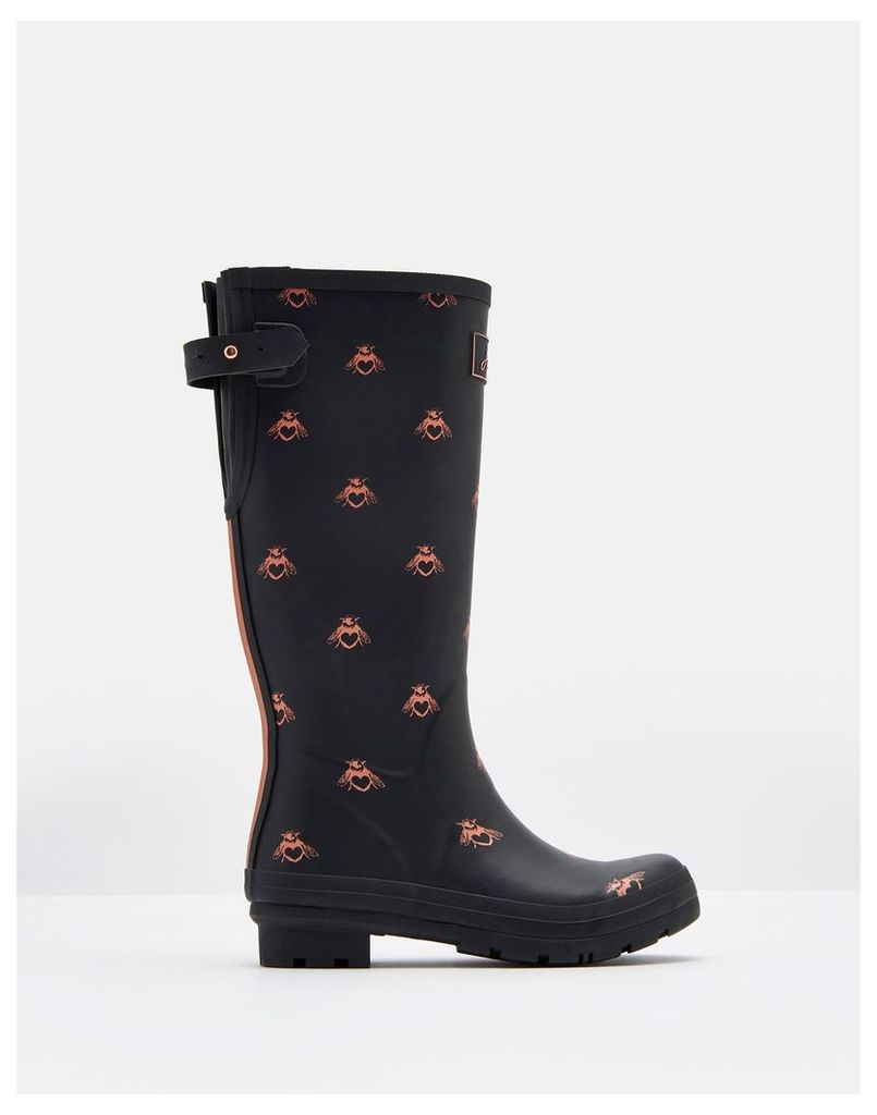 Black Love Bees Printed Wellies  Size Adult 6 | Joules UK