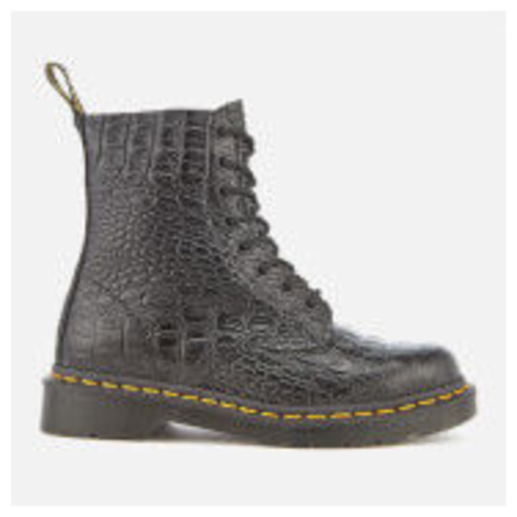 Dr. Martens Women's Pascal Croc Leather 8-Eye Lace Up Boots - Black