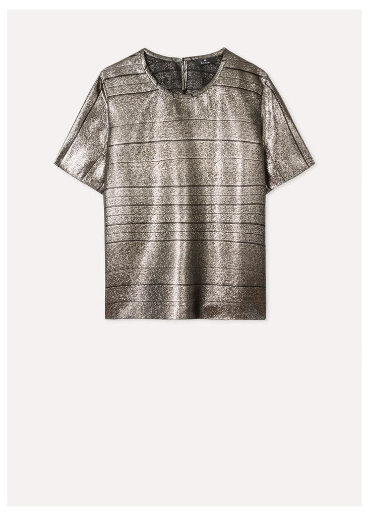 Women's Short-Sleeved Metallic Top