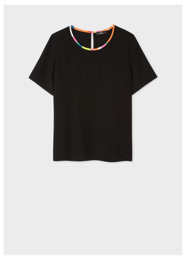 Women's Black Silk Top With Multi-Coloured Trim