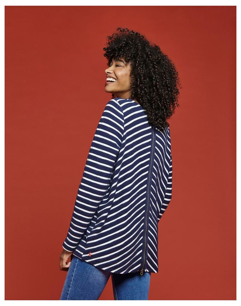 Navy Stripe Caroline Textured Loopback Sweatshirt  Size 12 | Joules UK