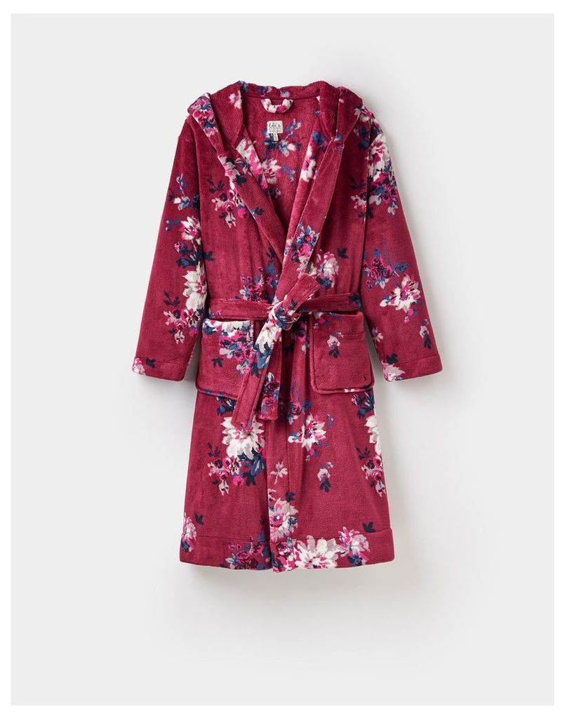 Maroon Floral 124363 Womens Rita fluffy hooded dressing gown  Size S/M | Joules UK