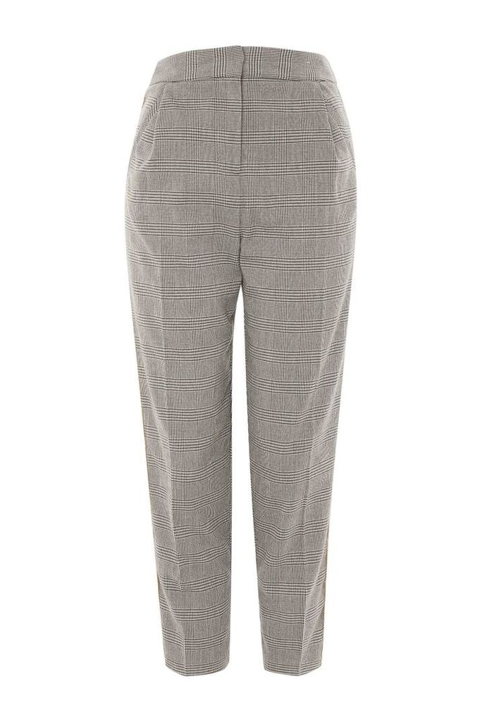 Womens Check Side Tapered Trousers - Grey, Grey