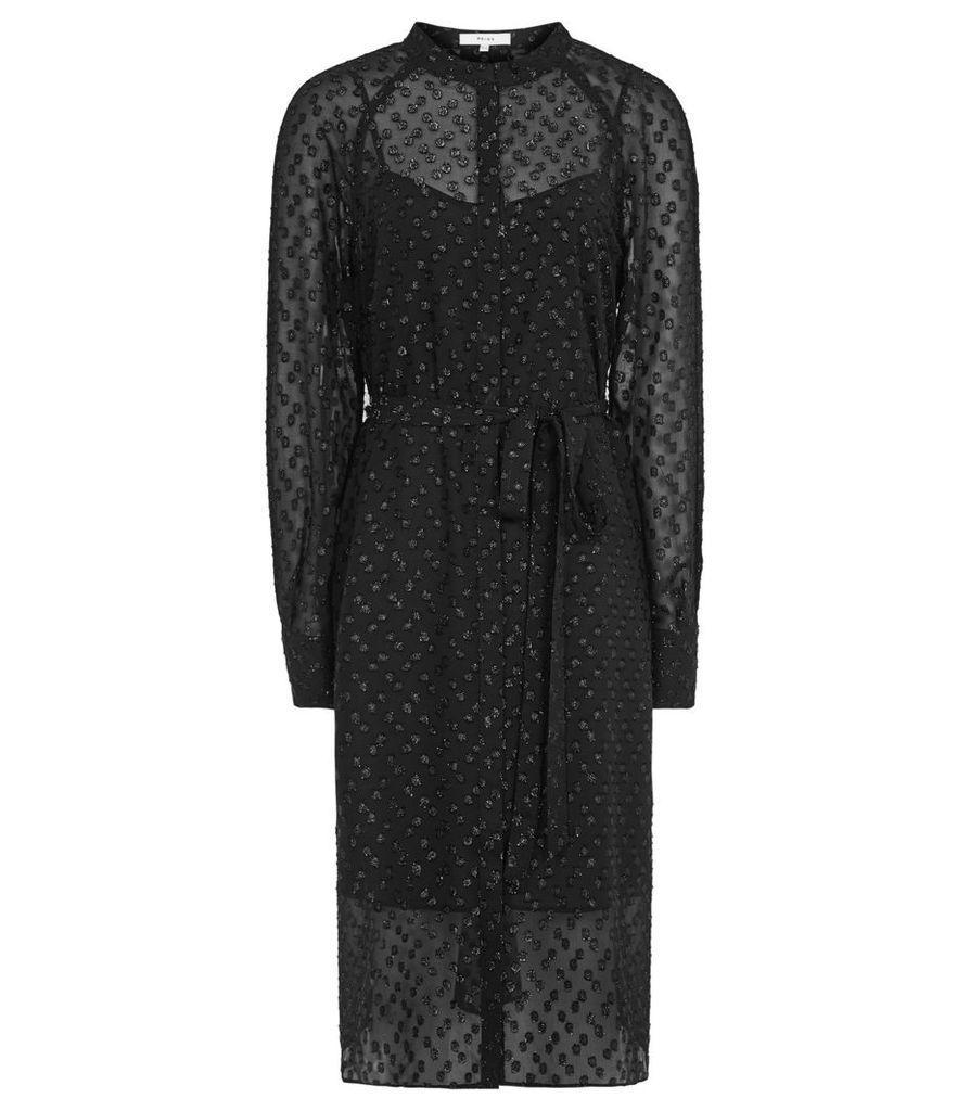 Reiss Allura - Metallic Burnout Shirt Dress in Black, Womens, Size 4