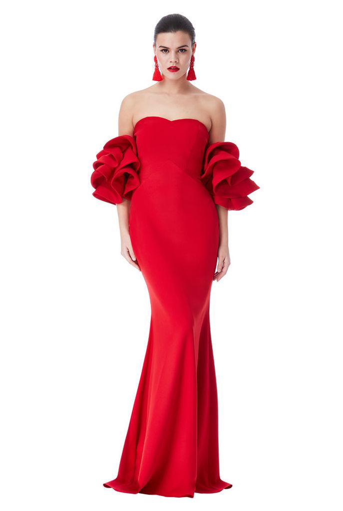 Statement Ruffle Sleeve Maxi Dress - Red