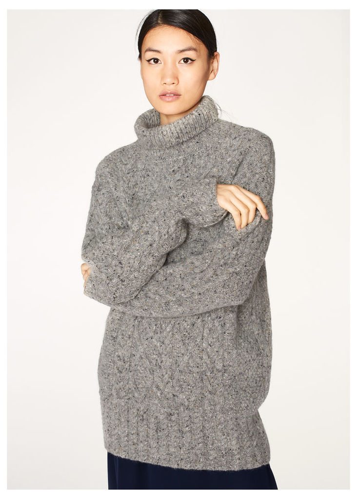 Women's Oversized Grey Cable Knit Wool-Mohair High-Neck Sweater
