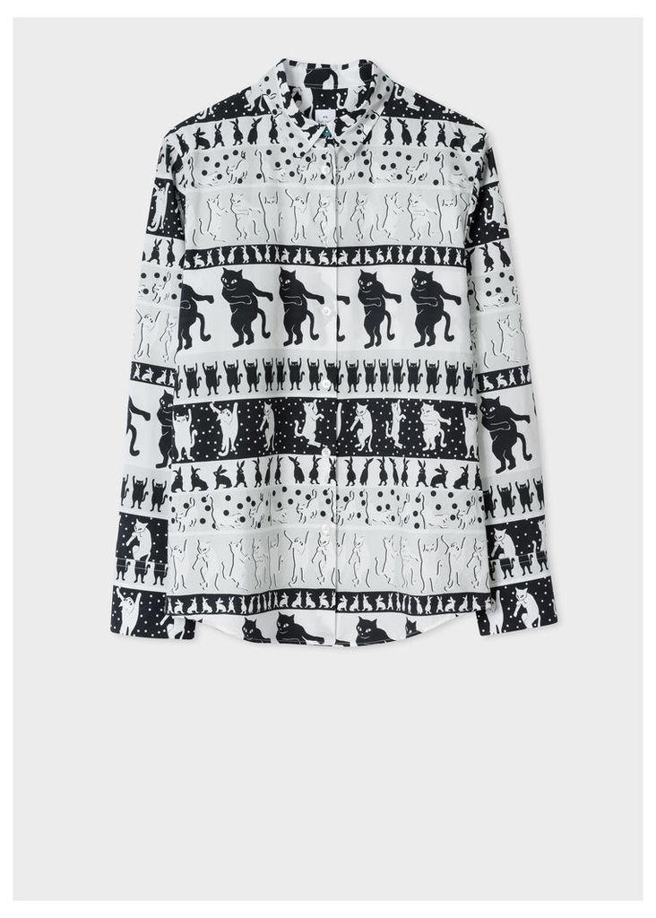 Women's 'Lucky Animals' Cat Print Cotton Shirt