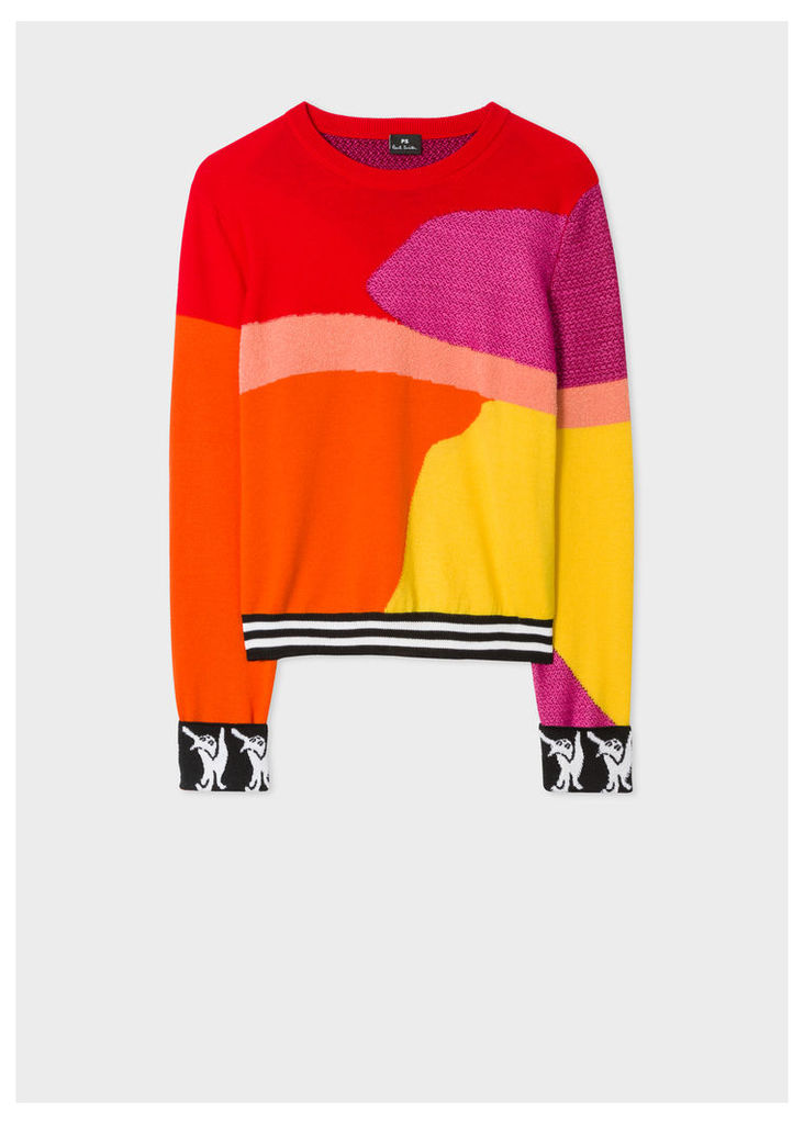 Women's Red Colour-Block Textured-Knit Sweater