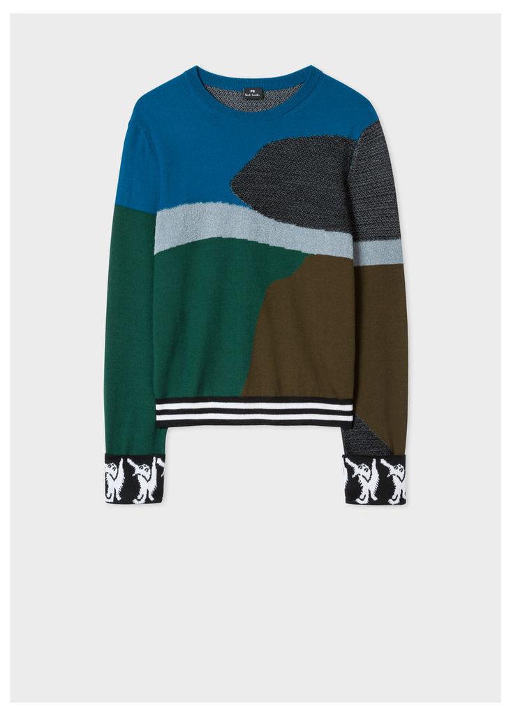 Women's Petrol Blue Colour-Block Textured-Knit Sweater