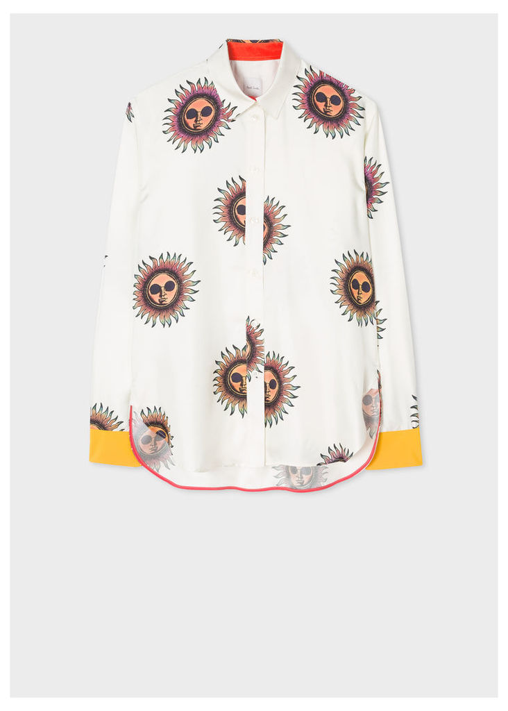 Women's Off-White 'Sun' Silk Shirt With Contrasting Cuffs
