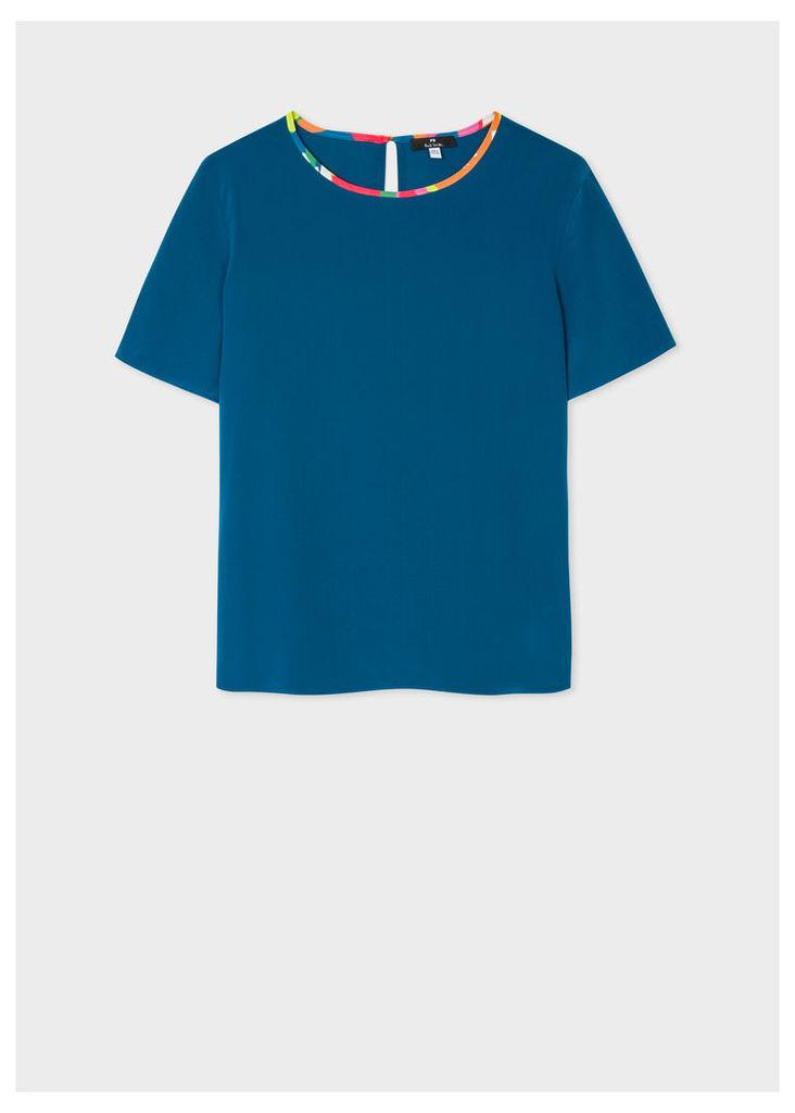 Women's Petrol Blue Silk Top With Multi-Coloured Trim