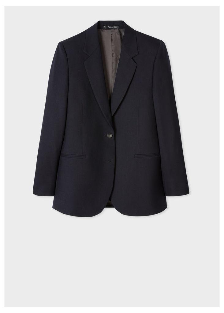 A Suit To Travel In - Women's Dark Navy Two-Button Wool Blazer