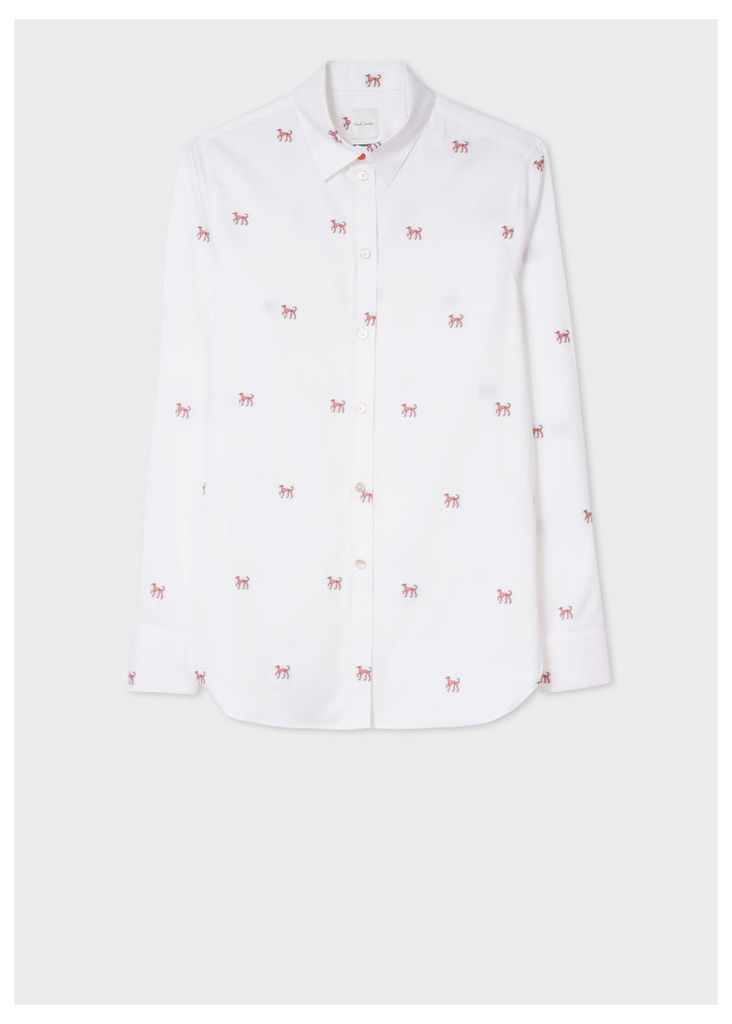 Women's White 'Dog' Cotton Shirt With Contrasting Cuff Linings
