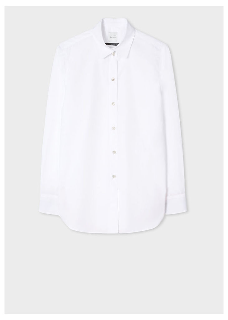 Women's White Cotton-Twill Shirt With 'Artist Stripe' Cuff Linings And Charm Button