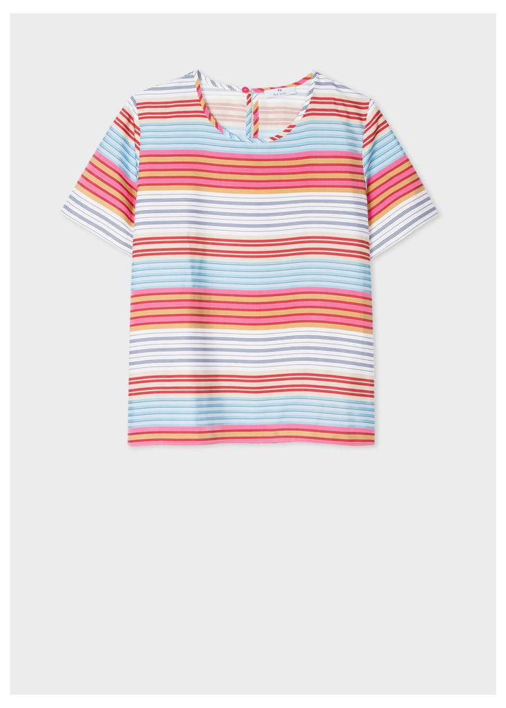 Women's Striped Cotton-Blend Crew Neck Top