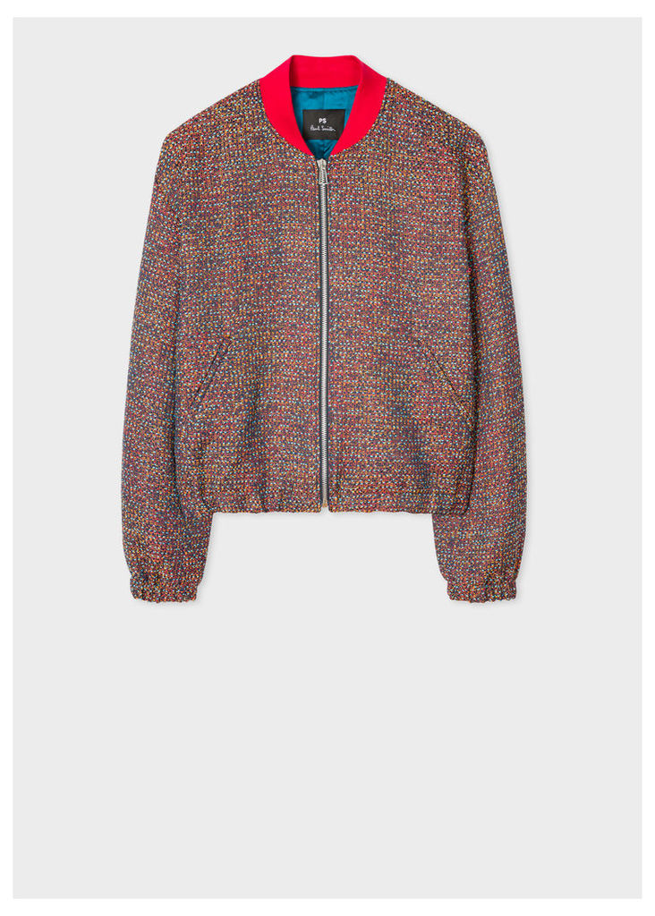 Women's Multi-Coloured Tweed Cotton-Blend Bomber Jacket