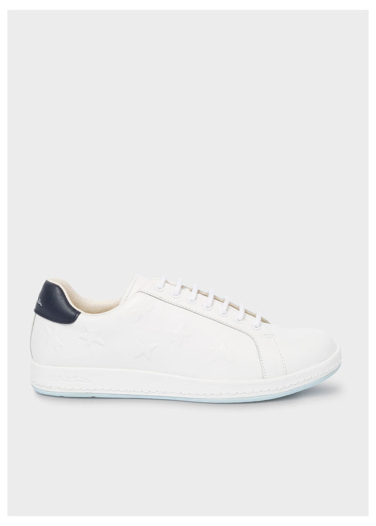 Women's White Leather 'Lapin' Trainers With Embossed Stars