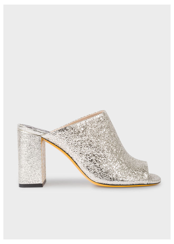 Women's Metallic Silver Leather 'Molly' Heeled Sandals