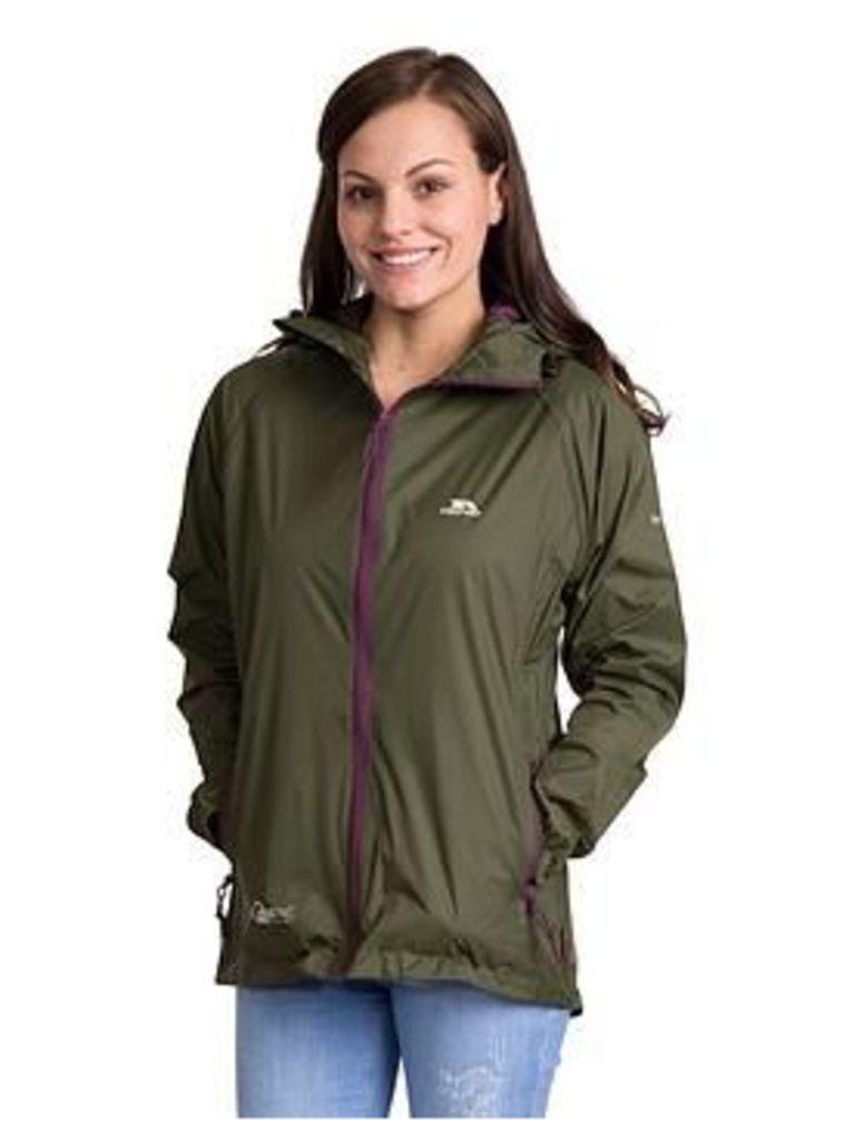 Trespass Qikpac Packable Waterproof Jacket - Moss, Moss, Size S, Women
