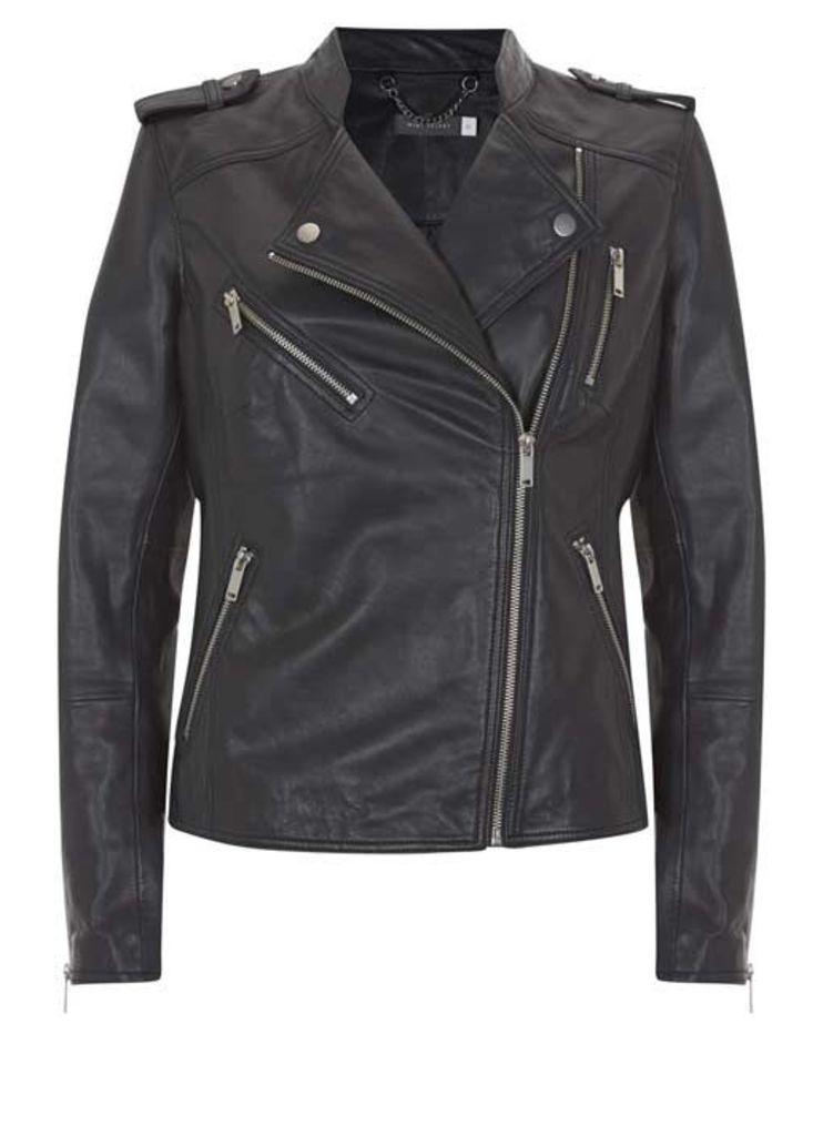 Navy Leather Collarless Biker Jacket