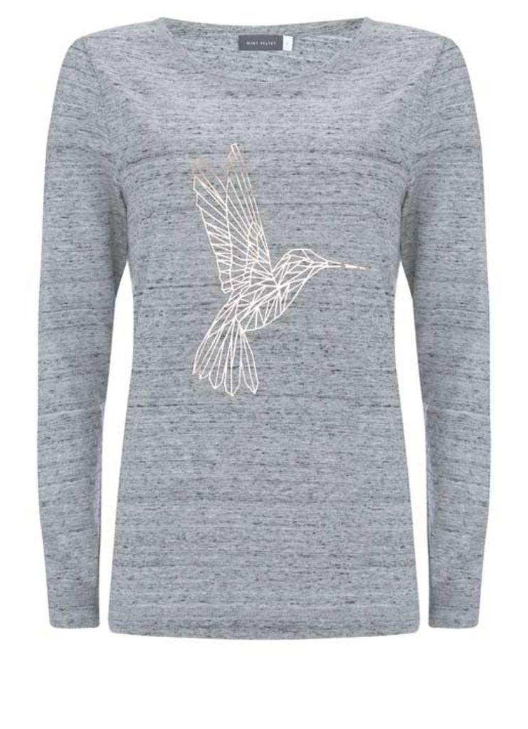 Silver Grey Hummingbird Long Sleeve Tee