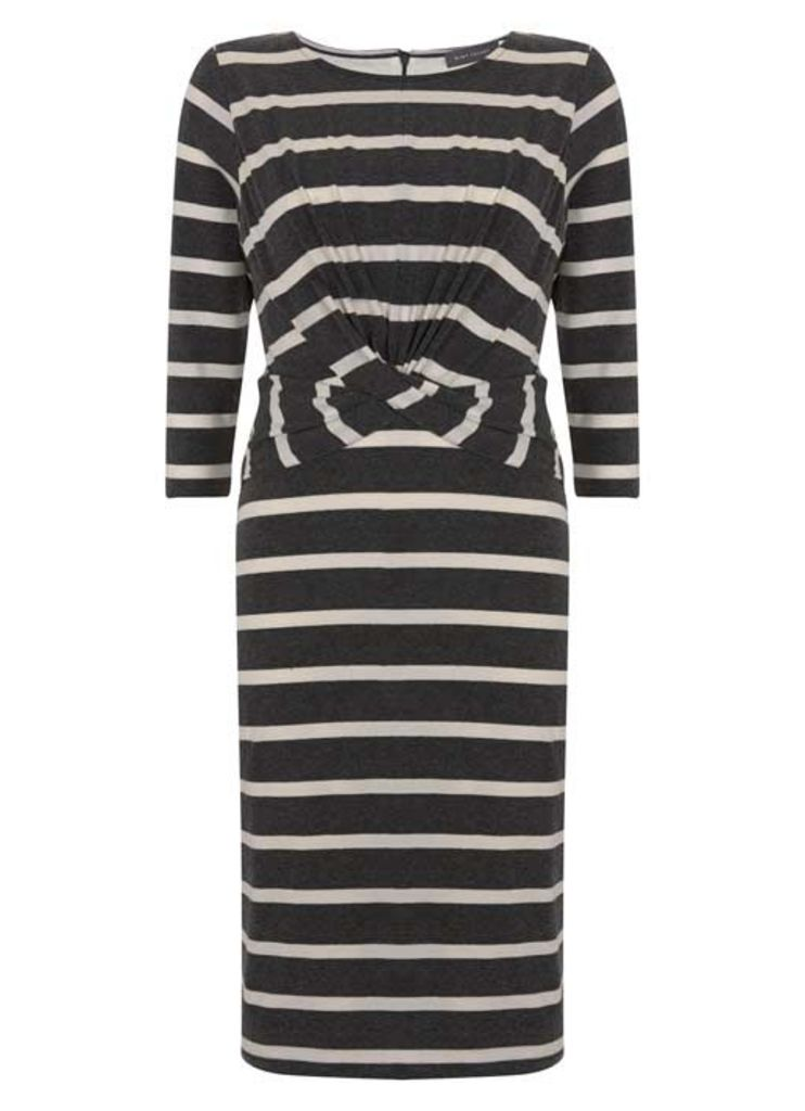 Stripe Wrap Front Jersey Dress