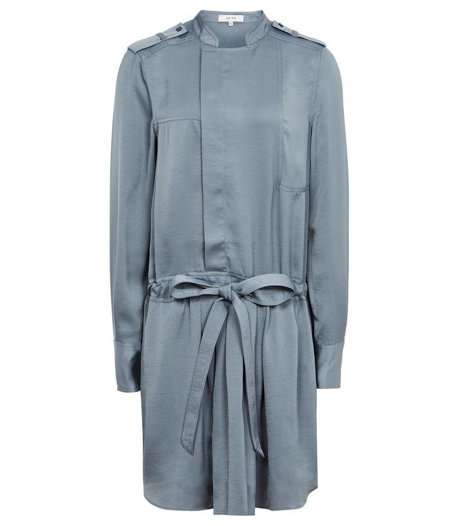 Reiss Eleanor - Satin Shirt Dress in NORDIC BLUE, Womens, Size 4