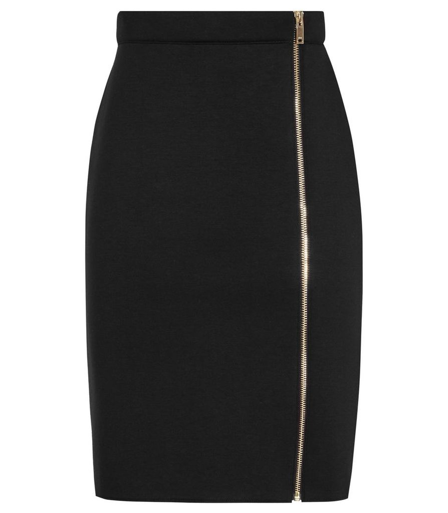 Reiss Ria - Zip-front Pencil Skirt in Black, Womens, Size 4