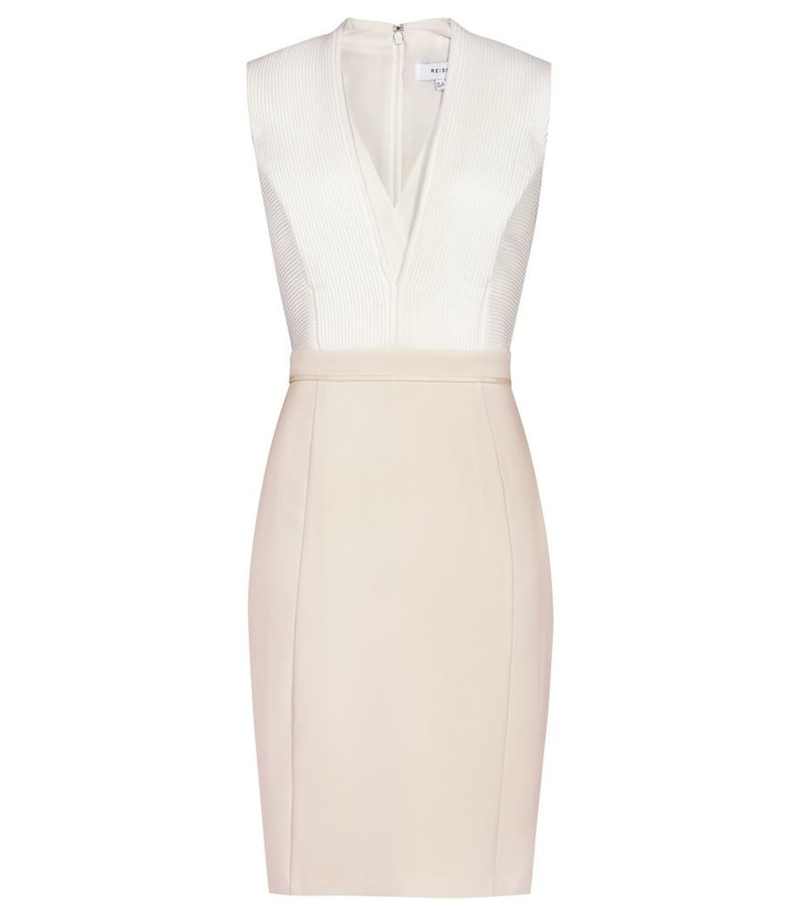 Reiss Lourdes - Block-colour Dress in Off White/Champagne, Womens, Size 4
