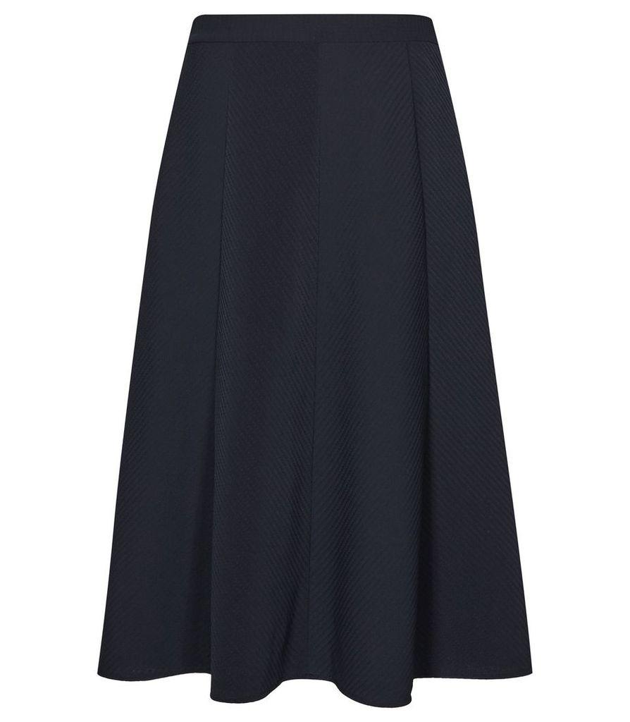 Reiss Bevan - Box-pleat Midi Skirt in Night Navy, Womens, Size 4