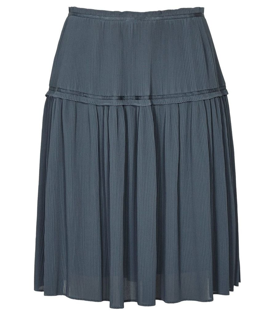 Reiss Dali - Plisse Skirt in Graphite, Womens, Size 4