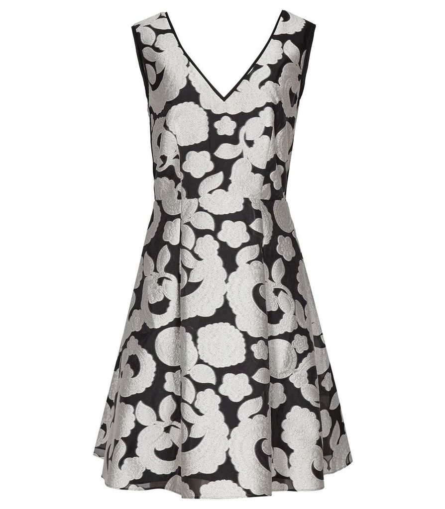Reiss Miriah - Jacquard Fit And Flare Dress in Black/Offwhite, Womens, Size 4