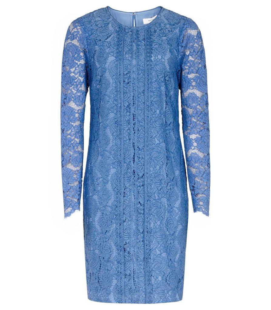 Reiss Suki - Lace Shift Dress in Azure, Womens, Size 4