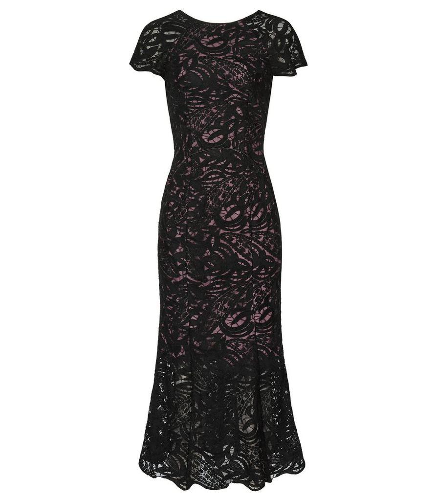 Reiss Erin - Lace Midi Dress in Black, Womens, Size 4