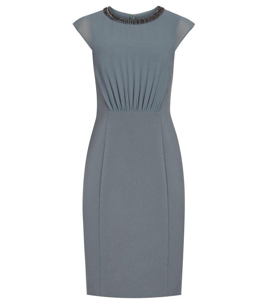 Reiss Serre - Embellished-neckline Dress in Moss, Womens, Size 4