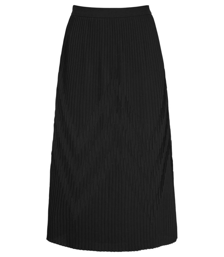 Reiss Trudy - Plisse Midi Skirt in Black, Womens, Size 4