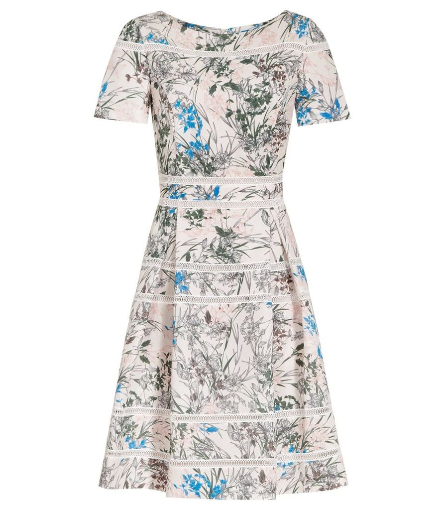 Reiss Mella - Printed Dress in Multi Pink, Womens, Size 4