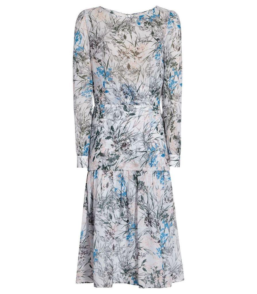 Reiss Nyla - Printed Midi Dress in Multi Blue, Womens, Size 4