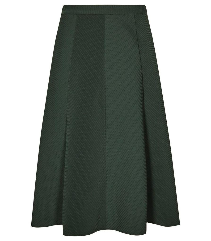 Reiss Bevan - Box-pleat Midi Skirt in Olive, Womens, Size 4
