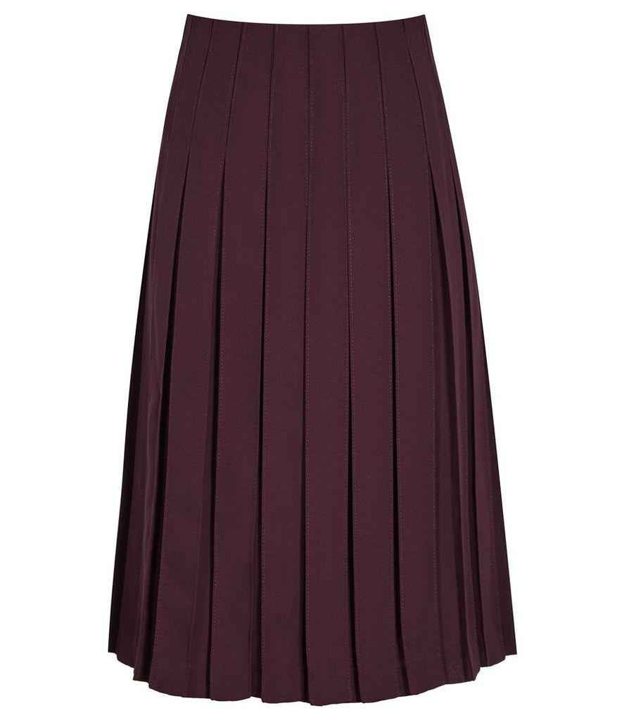 Reiss Selina - Pleated Midi Skirt in Garnet, Womens, Size 4