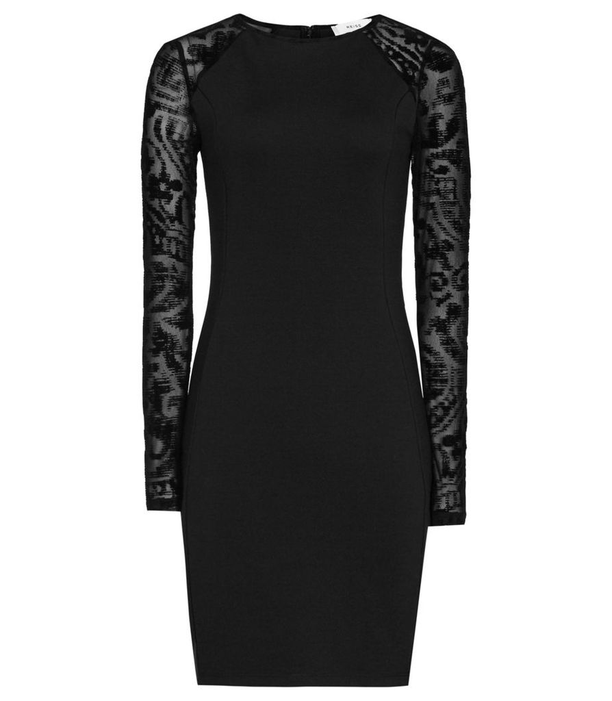 Reiss Bonny - Burnout-detail Dress in Black, Womens, Size 4