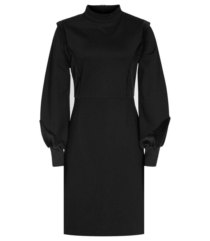 Reiss Lulu - Velvet-detail Dress in Black, Womens, Size 4