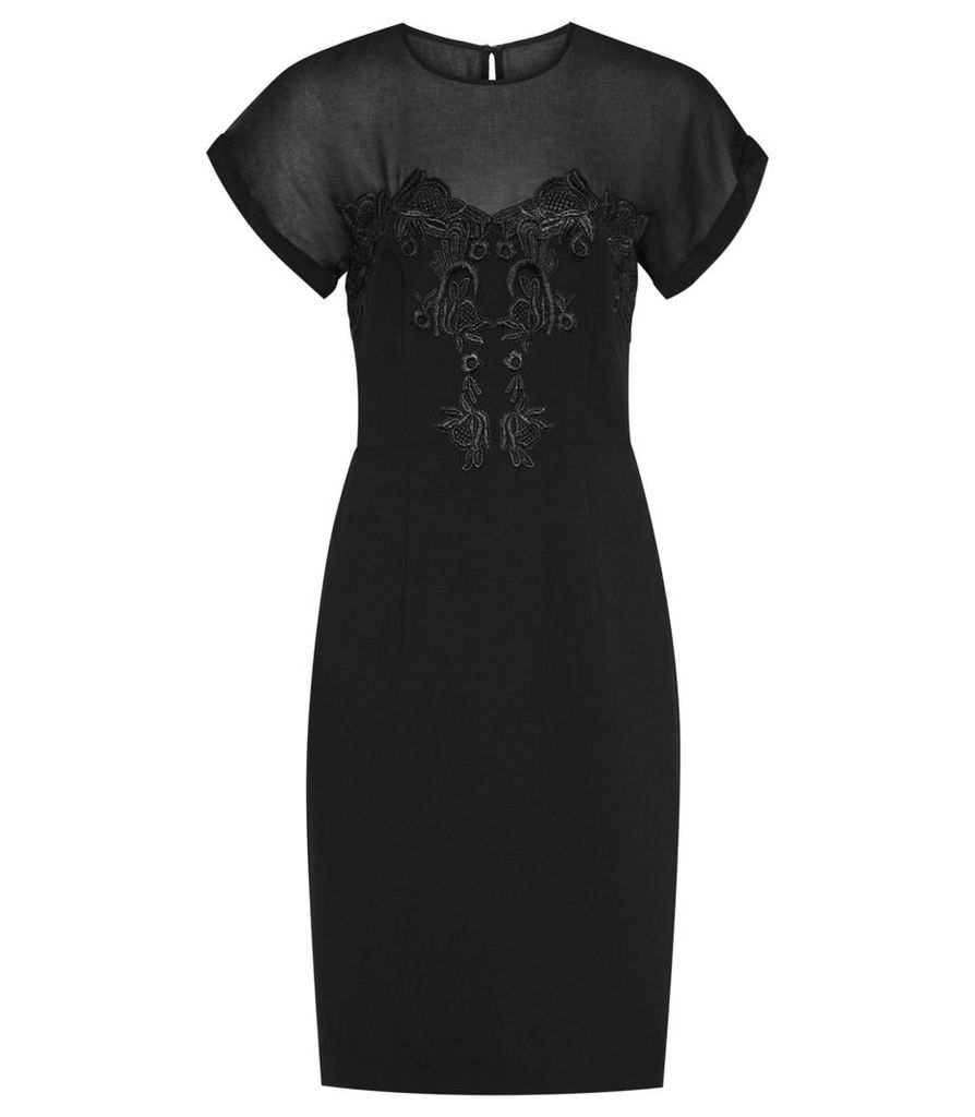 Reiss Dilone - Embroidered Dress in Black, Womens, Size 4
