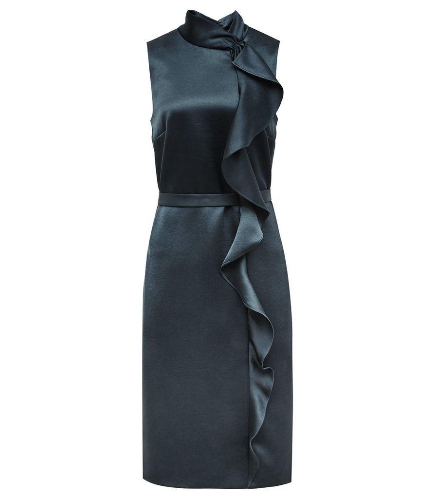 Reiss Lola - Ruffle-front Dress in Deep Ocean, Womens, Size 4