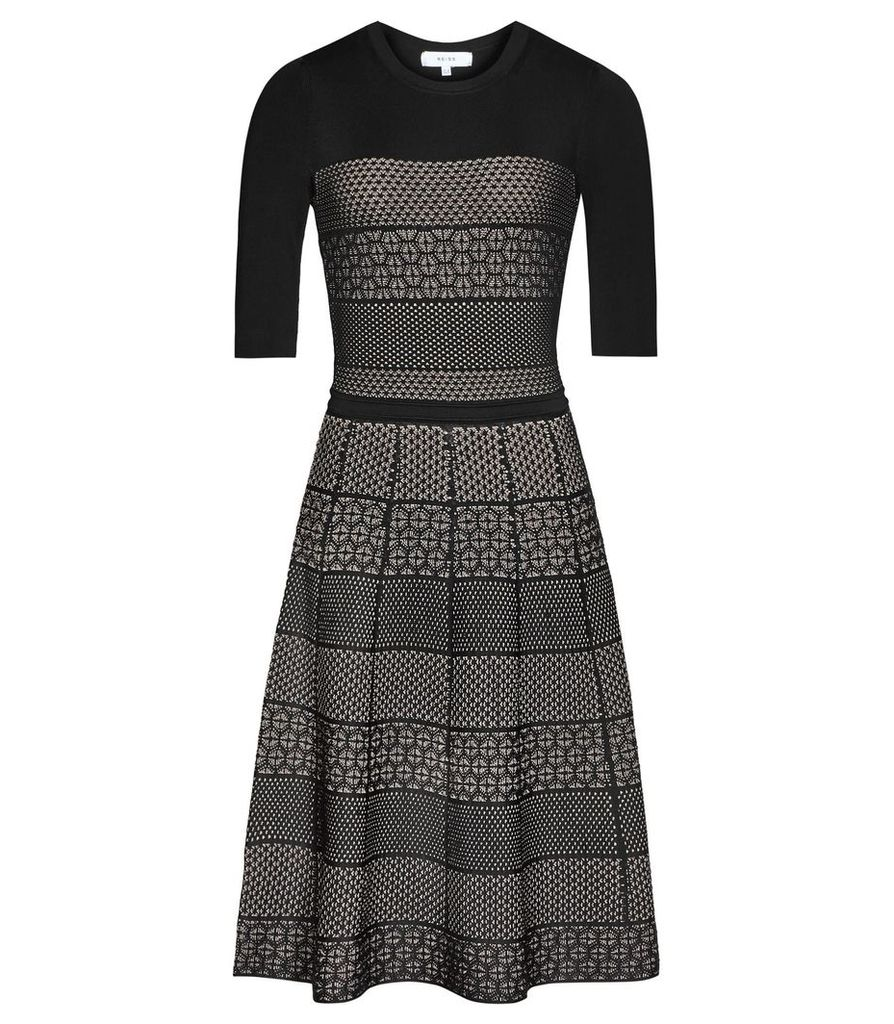 Reiss Alithia - Technique Knitted Dress in Black/Pink, Womens, Size 4